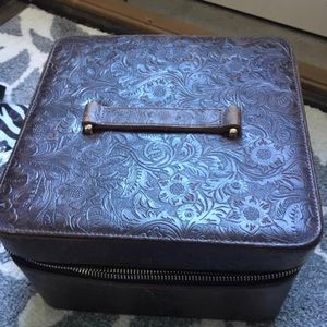 Tooled leather train case & 6  lip gloss cases.